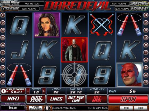 Daredevil Fun Slots by PlayTech with 5 Reel and 20 Line