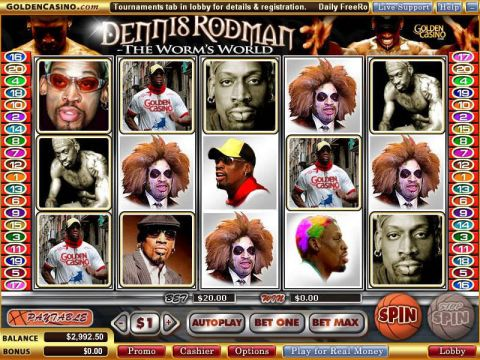 Dennis Rodman - The Worm's World Fun Slots by Vegas Technology with 5 Reel and 20 Line