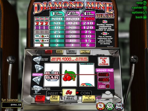 Diamond Mine Deluxe Fun Slots by RTG with 3 Reel and 1 Line