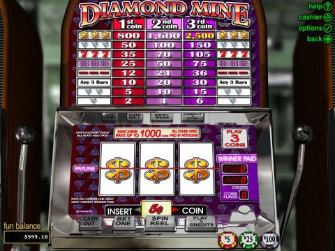 Diamond Mine Fun Slots by RTG with 3 Reel and 1 Line