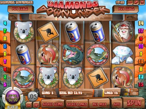 Diamonds Downunder Fun Slots by Rival with 5 Reel and 15 Line
