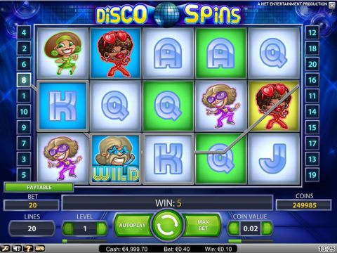Disco Spins Fun Slots by NetEnt with 5 Reel and 20 Line