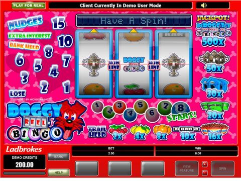 Doggy Reel Bingo Fun Slots by Microgaming with 3 Reel and 1 Line