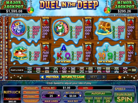 Duel In The Deep Fun Slots by NuWorks with 5 Reel and 25 Line
