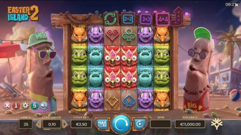 Easter Island 2 Fun Slots by Yggdrasil with 6 Reel and 25 Line