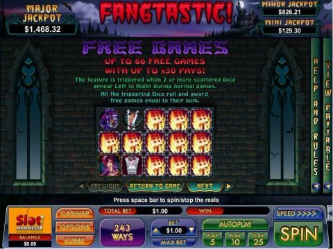 Fangtastic Fun Slots by NuWorks with 5 Reel and 243 Line