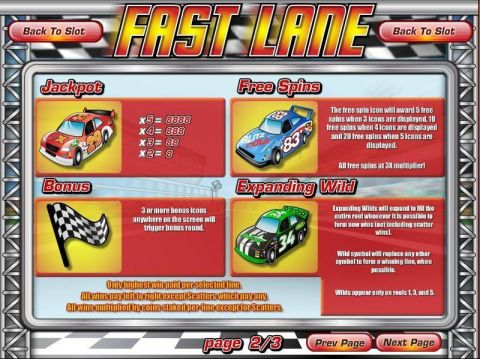 Fast Lane Fun Slots by Rival with 5 Reel and 50 Line