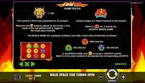 Fire 88 Fun Slots by Pragmatic Play with 3 Reel and 7 Line