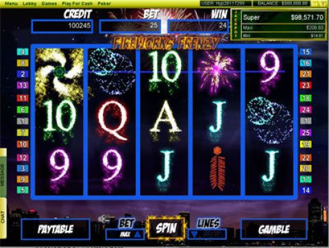 FireWorks Frenzy Fun Slots by Player Preferred with 5 Reel and 25 Line