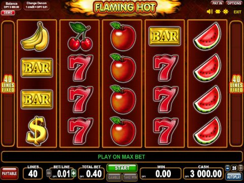 Flaming Hot Fun Slots by EGT with 5 Reel and 40 Line