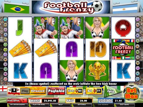 Football Frenzy Fun Slots by PartyGaming with 5 Reel and 25 Line