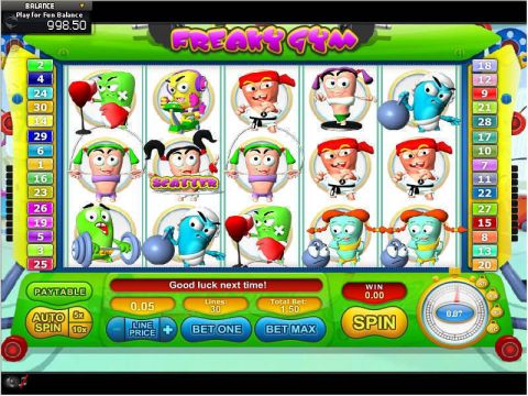 Freaky Gym Fun Slots by GamesOS with 5 Reel and 30 Line