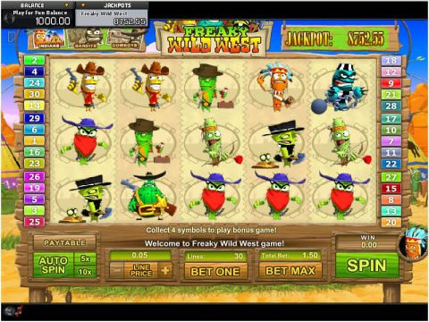 Freaky Wild West Fun Slots by GamesOS with 5 Reel and 30 Line