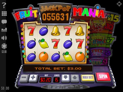 Fruit Mania Fun Slots by Slotland Software with 5 Reel and 15 Line