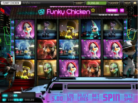 Funky Chicken Fun Slots by Sheriff Gaming with 5 Reel and 20 Line