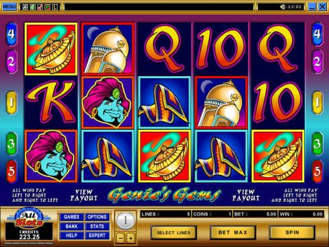 Genie's Gems Fun Slots by Microgaming with 5 Reel and 5 Line