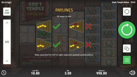 God's Temple Deluxe Fun Slots by Booongo with 6 Reel and
