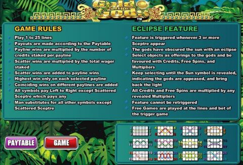 Gold ogf the Gods Fun Slots by WGS Technology with 5 Reel and 25 Line
