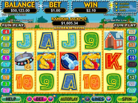Golden Retriever Fun Slots by RTG with 5 Reel and 20 Line