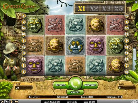 Gonzo's Quest Fun Slots by NetEnt with 5 Reel and 20 Line