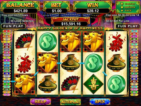 Happy Golden Ox of Happiness Fun Slots by RTG with 5 Reel and 50 Line