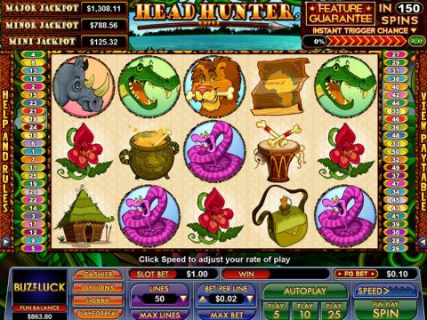 Head Hunter Fun Slots by NuWorks with 5 Reel and 50 Line