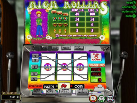 High Rollers Fun Slots by RTG with 3 Reel and 5 Line