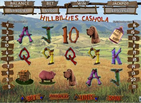 Hillbillies Cashhola Fun Slots by RTG with 5 Reel and 20 Line