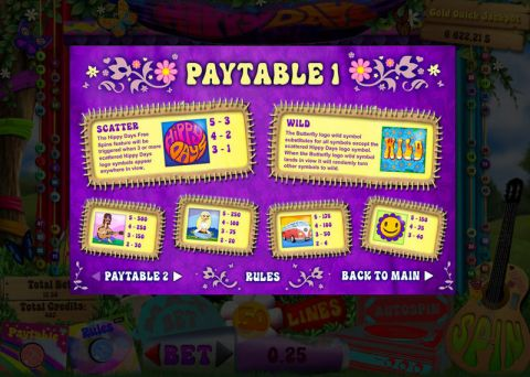 Hippy Days Fun Slots by bwin.party with 5 Reel and 50 Line