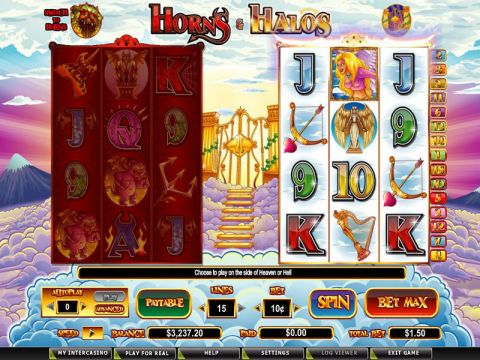 Horns and Halos Fun Slots by CryptoLogic with 6 Reel and 15 Line