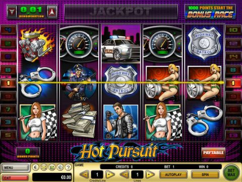 Hot Pursuit Fun Slots by GTECH with 5 Reel and 15 Line