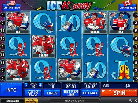 Ice Hockey Fun Slots by PlayTech with 5 Reel and 15 Line