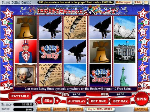 Independence Day Fun Slots by WGS Technology with 5 Reel and 9 Line