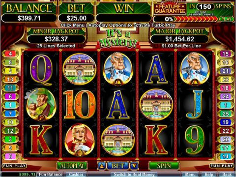 It's a Mystery Fun Slots by RTG with 5 Reel and 25 Line