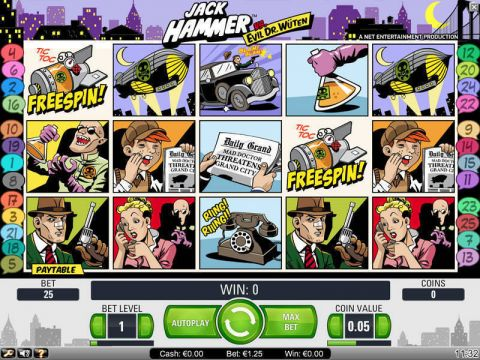 Jack Hammer Fun Slots by NetEnt with 5 Reel and 25 Line