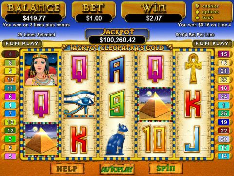 Jackpot Cleopatra's Gold Fun Slots by RTG with 5 Reel and 25 Line