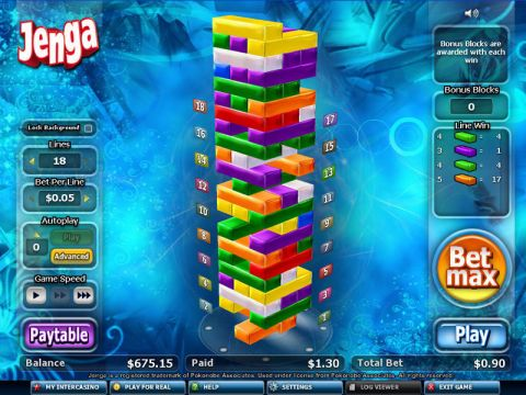 Jenga Fun Slots by CryptoLogic with 0 Reel and 18 Line
