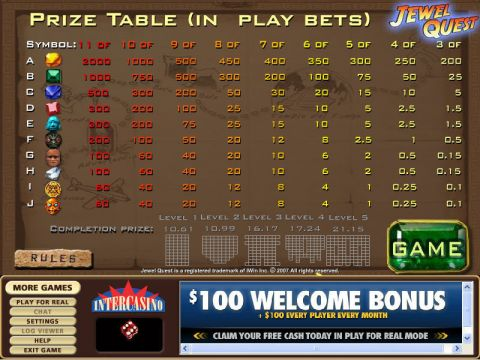 Jewel Quest Fun Slots by CryptoLogic with 6 Reel and 16 Line