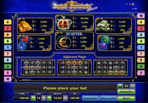 Just Jewels - Deluxe Fun Slots by Novomatic with 5 Reel and 10 Line