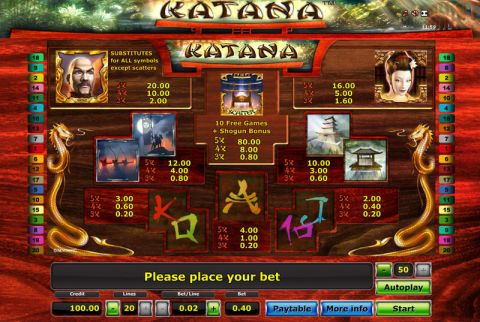 Katana Fun Slots by Novomatic with 5 Reel and 20 Line