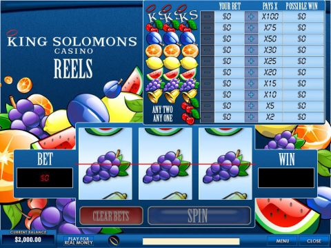 King Solomons Reels Fun Slots by PlayTech with 3 Reel and 1 Line