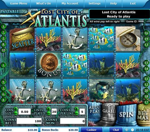 Lost City of Atlantis Fun Slots by Leap Frog with 5 Reel and 20 Line