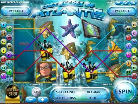 Lost Secrets of Atlantis Fun Slots by Rival with 5 Reel and 25 Line