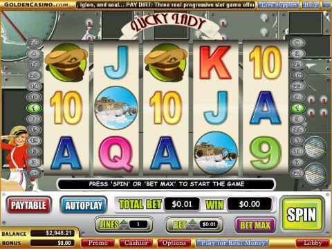 Lucky Lady Fun Slots by WGS Technology with 5 Reel and 25 Line