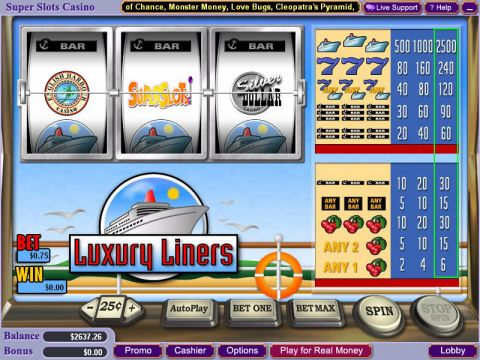 Luxury Liners Fun Slots by WGS Technology with 3 Reel and 1 Line