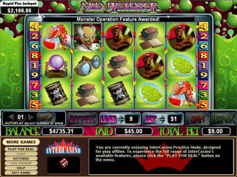 Mad Professor Fun Slots by CryptoLogic with 5 Reel and 9 Line