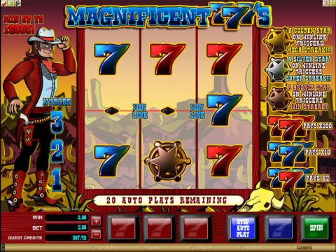 Magnificent 777's Fun Slots by Microgaming with 3 Reel and 1 Line