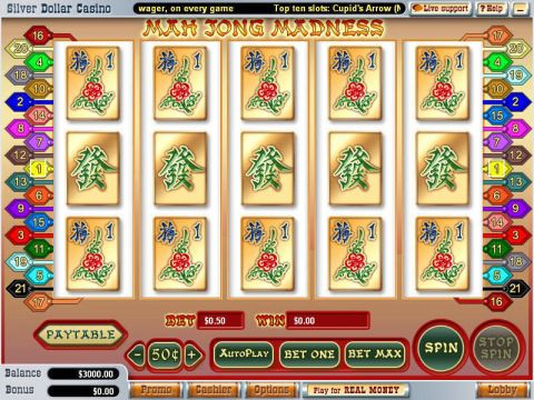 Mah Jong Madness Fun Slots by WGS Technology with 5 Reel and 21 Line