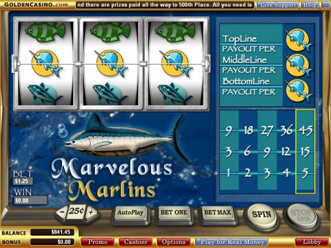 Marvelous Marlins Fun Slots by WGS Technology with 3 Reel and 1 Line