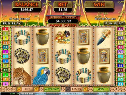Mayan Queen Fun Slots by RTG with 5 Reel and 25 Line